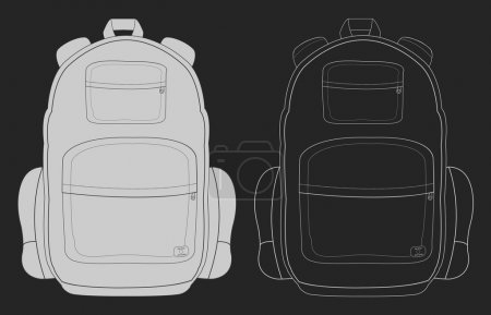 Illustration for Travel tourist camping backpack. Chalk vector illustration - Royalty Free Image