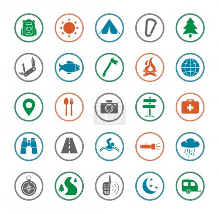 Illustration for Camping icons set. Survival and traveling silhouette color vector symbols isolated on white - Royalty Free Image