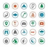 Camping travel icons set