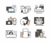 Household electronics icons set