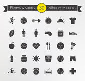 Fitness, sport icons set