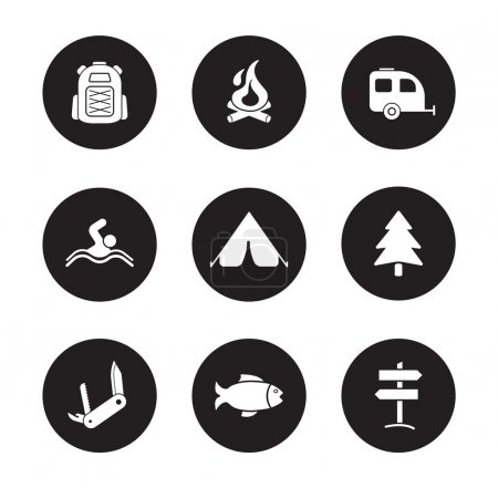 Illustration for Camping and tourism black icons set. Outdoor recreation white silhouettes symbols. Swimming and fishing monochrome pictograms. Backpacker traveling flat design emblems. Travel equipment icons. Vector - Royalty Free Image
