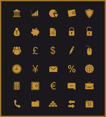 Finance and banking icons set Gold