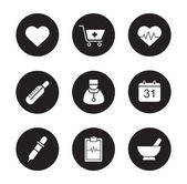 Medical and health black icons set