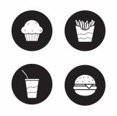 Fast food  black icons set white silhouettes illustrations Unhealthy fat eating Fast-food restaurant menu items Vector