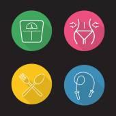 Women fitness icons set