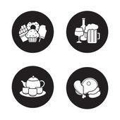 Obchod s potravinami produkty ikony nastavit