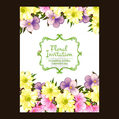 Colorful greeting wedding invitation card