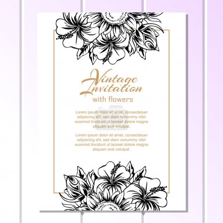 Black and white greeting abstract floral card.