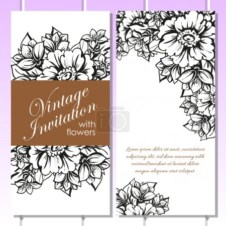 Black and white wedding invitation card