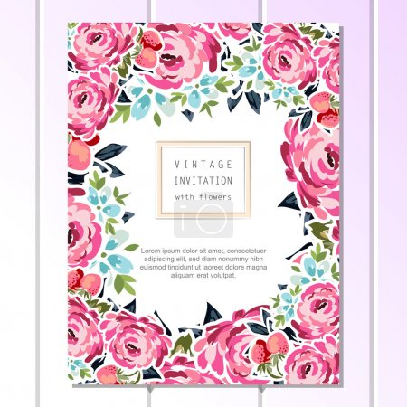Floral vintage invitation card