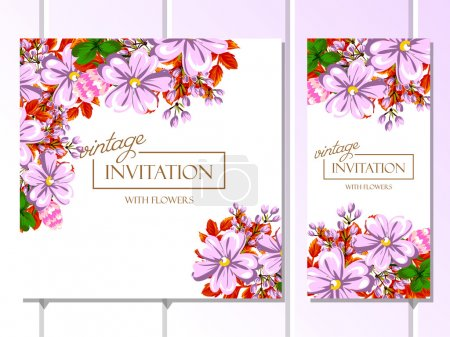 Illustration for Vector illustration design of Invitation with beautiful colored flowers background - Royalty Free Image