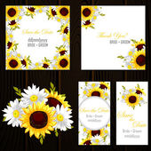 Set of invitations cards with floral background vector