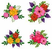 Beautiful flower bouquets set
