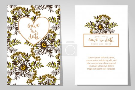 Illustration for Wedding invitation cards with floral elements - Royalty Free Image