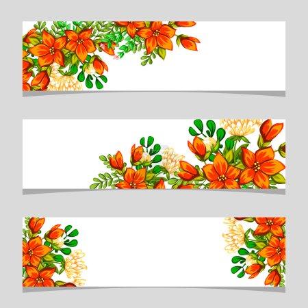 Illustration pour Trois bannières florales avec place pour le texte - image libre de droit