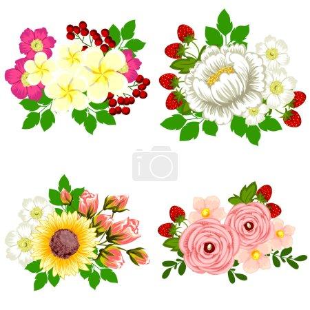Illustration pour Bouquet de fleurs sur fond blanc - image libre de droit