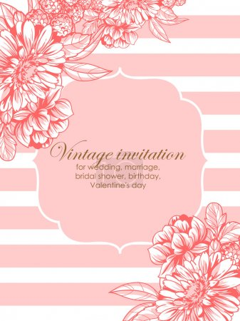 Illustration for Vintage delicate invitation with flowers for wedding, marriage, bridal, birthday, Valentine's day. Romantic vector illustration. - Royalty Free Image