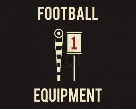 A couple of sideline markers used in American football games. Usa sports equipment in flat design. Retro colors. Vector