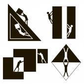 black and white geometric men