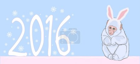 illustration 2016 new year of the monkey