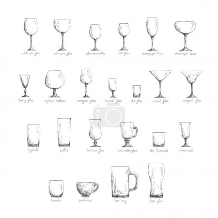 Collection of different glass glasses for differen...