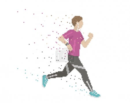 Illustration for Pixel Art Runner With Swooshes On White Background - Royalty Free Image