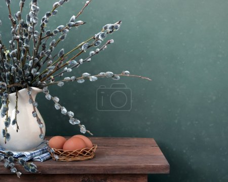 Still life with a willow bouquet