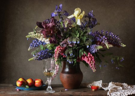 Still life with a bouquet of lupines.