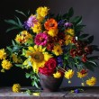 Bouquet from cultivated flowers with a sunflower, ...