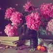 Постер, плакат: Still life with a bouquet of pink peonies