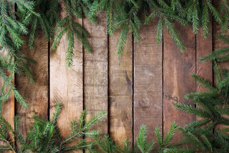 Background from boards with fir-tree branches from above