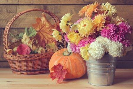 Autumn still life with a bouquet.