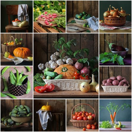Photo for Collage from still lifes with vegetables. Vegetable background. Vegetables in a basket. - Royalty Free Image
