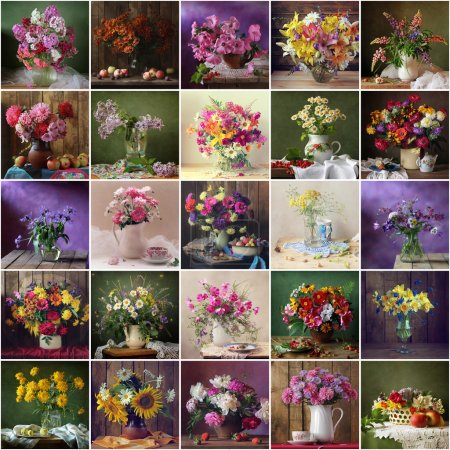 Collage from still lifes with bouquets