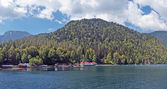 Lake Ritsa in mountains in Abkhazia, panorama.
