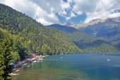 Lake Ritsa in mountains in Abkhazia.