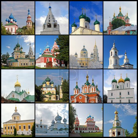 Collage from pictures with churches and temples of Russia.