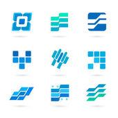 set-of-blue-icons-isolated-on-white-background