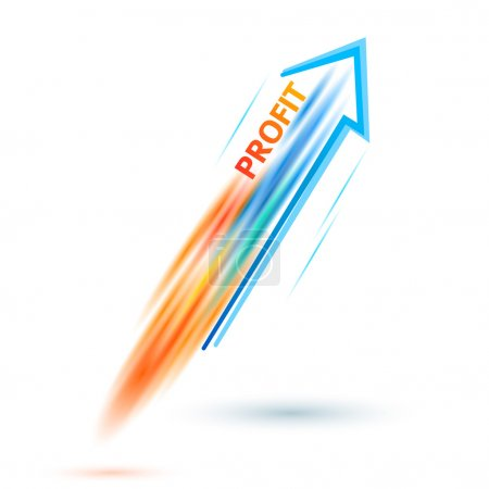 profit-concept-of-business-success-arrow-rocket-white-background