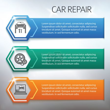 Car-repair-horizontal-banner-set-gray-background