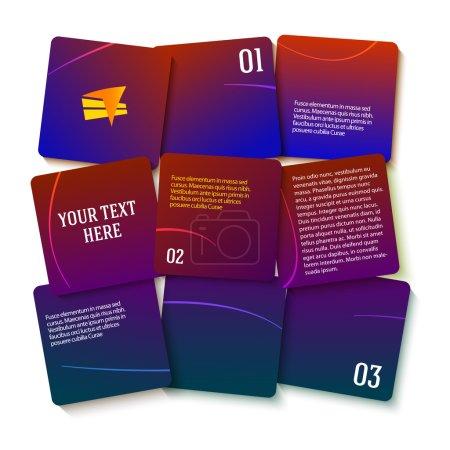 Ilustración de Plantilla de estilo gráfico información de moderno diseño en oscuros plazas numerado de fondo con bloques de efecto 3d. Ilustración de vector Eps 10 para nuevos boletines de producto, banners web, páginas de presentación - Imagen libre de derechos