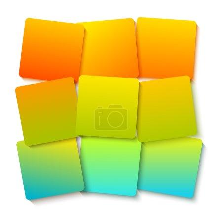 Ilustración de Plantilla de estilo infográfico de diseño moderno sobre fondo de cuadrados calientes con bloques de efectos 3d numerados. Ilustración vectorial Eps 10 para nuevos boletines de productos, banners web, presentación de páginas - Imagen libre de derechos
