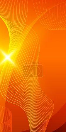 wave line flyer design element orange background
