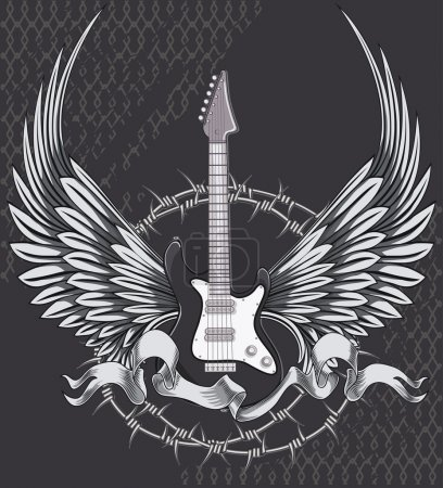 Winged guitar emblem