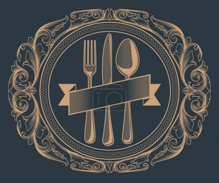 Illustration for Vintage Menu design in frame - Royalty Free Image