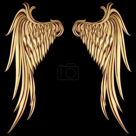 Illustration for Vintage Golden Wings on black background - Royalty Free Image