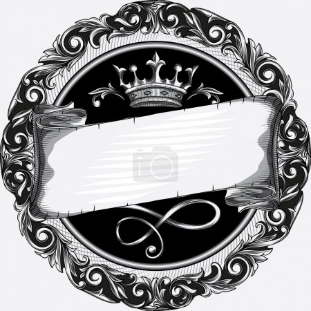 Illustration for Retro ornate emblem design with crown and scroll - Royalty Free Image