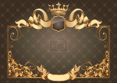 Illustration for Golden vintage blank frame with ribbons and crown - Royalty Free Image