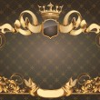 Golden vintage blank frame with ribbons and crown...